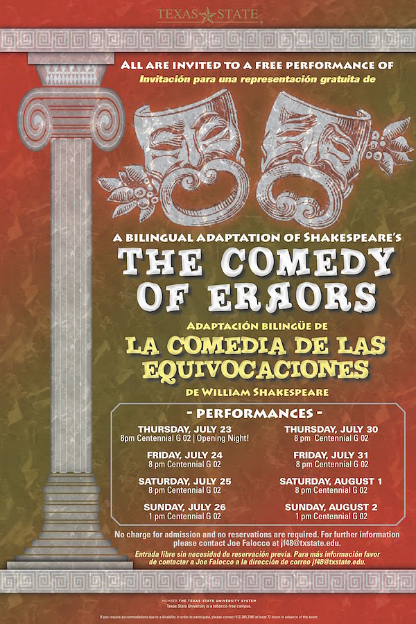 The Comedy of Errors/La Comedia de Equivocaciones by Texas State University