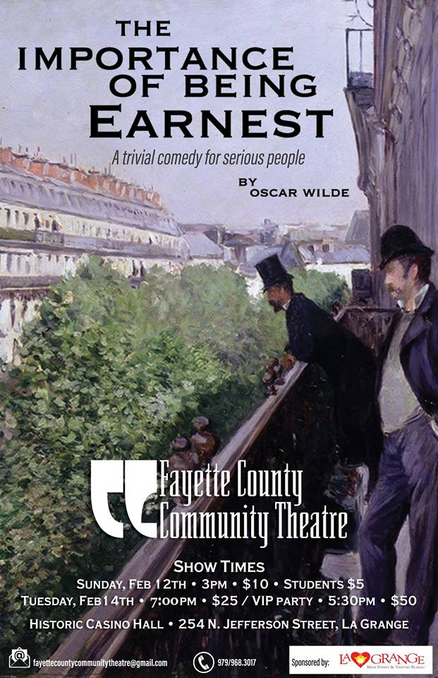 The Importance of Being Earnest by Fayette County Community Theatre