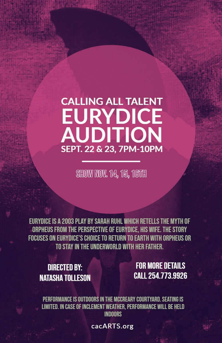 Auditions for Eurydice, by Cultural Activities Center (CAC), Temple