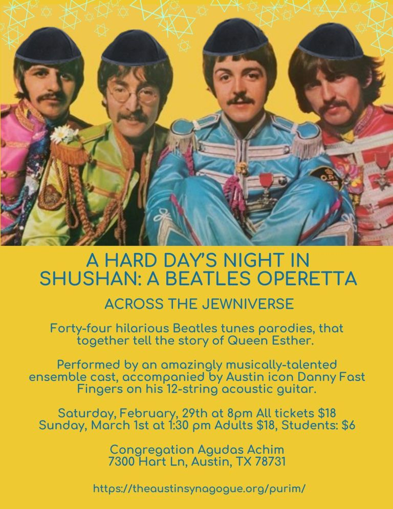 A Hard Day's Night in the Shushan - A Beatles Purim Operetta by Congregation Agudas Achim