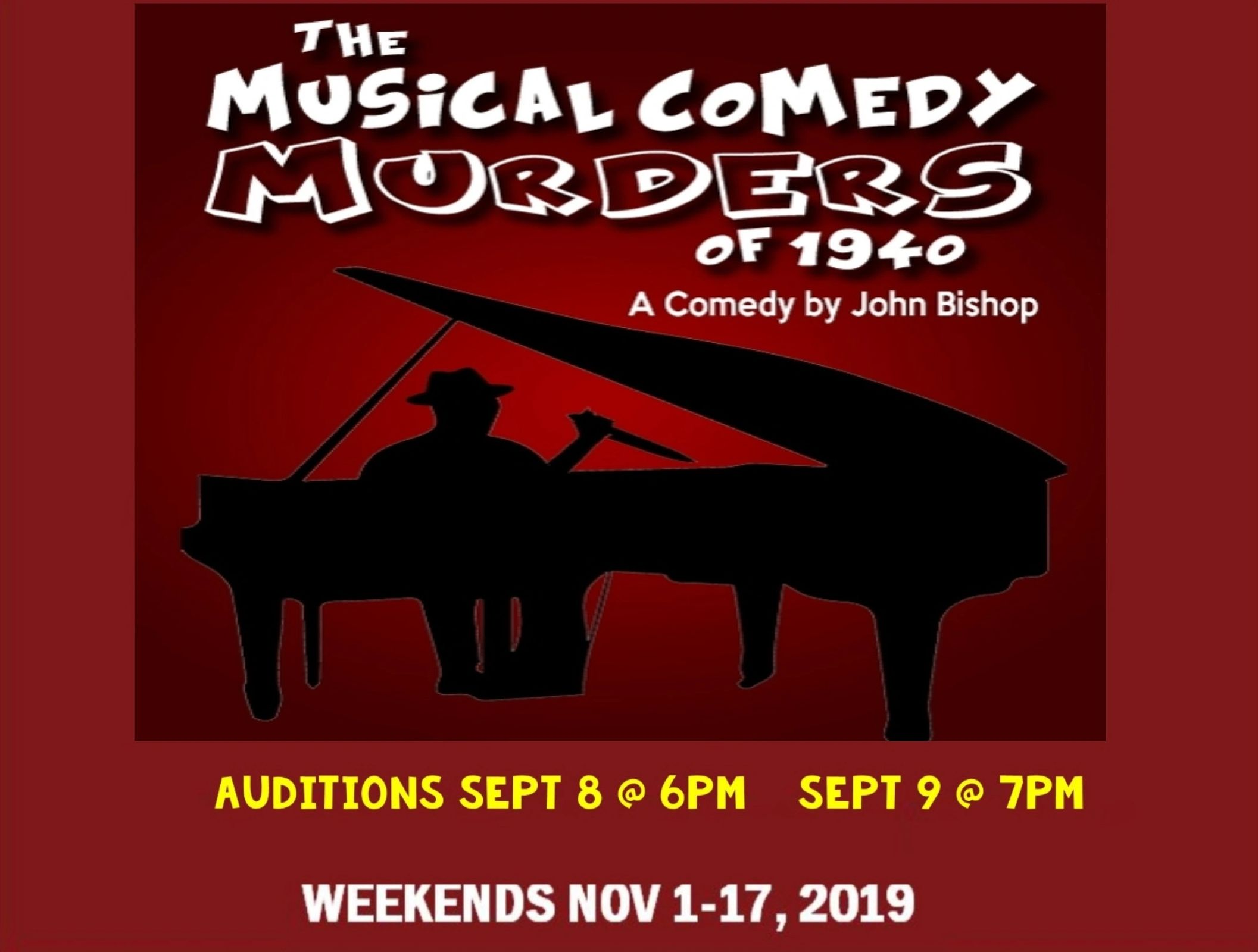 Auditions for The Musical Comedy Murders of 1940, by Rialto Theatre, Aransas Pass