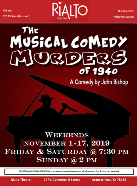 The Musical Comedy Murders of 1940 by Rialto Theatre