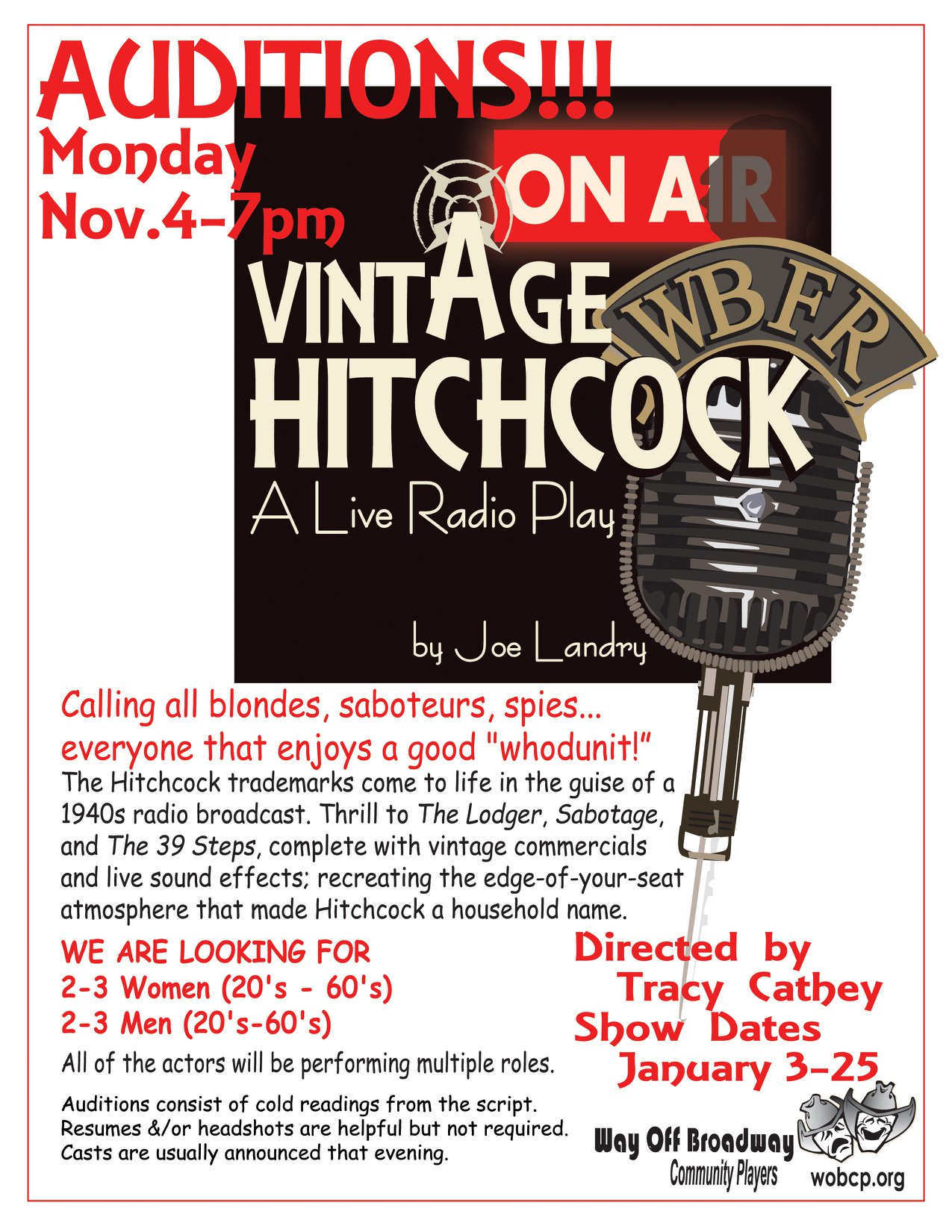 Auditions for Vintage Hitchcock: A Live Radio Play, by Way Off Broadway Community Players