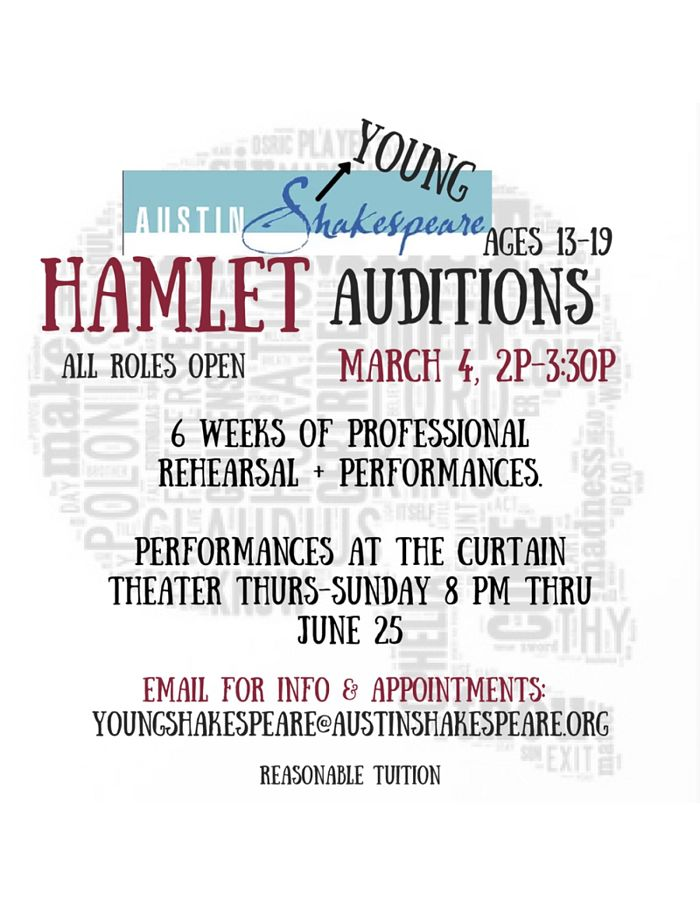 Auditions for Hamlet, by Austin Shakespeare Youth Troupe