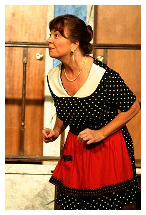 Kim Rubin as Mrs. Clackett (photo: Way Off Broadway Community Players)