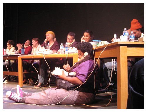 Stephen Mercantel, Toby Minor, Allison Gregory, Jenny Gravenstein, Jay Fraley, Antoinette Robinson as The Ocean, Braden Hunt, (in front) LaTasha Stephens(ALT photo)