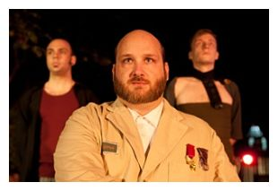 Travis Bedard as Titus Andronicus; behind him, Domenic Proccacini II and Paul Szent-Miklosy (photo: Will Hollis Photography)